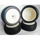 CR5-003-A31PW 1/8 Buggy Racing Tires Soft-A31 Pre-glued with White Wheels (4pcs)
