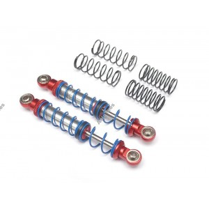 BRQ90333-80R Team Raffee Co. Aluminum Double Spring Shocks 80mm (2) for Crawlers Red