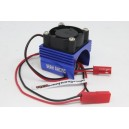 [Baru Cacat Pabrik] YA-0461BU Aluminum 380 Motor Heat Sink with Cooling Fan Blue 1pcs