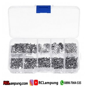 600pcs M2 Stainless Steel Hex Screw, Nut & Ring / baut mur 2mm